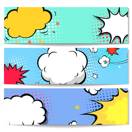 cartoon superhero: Set of comics boom speech bubble backgrounds, illustration