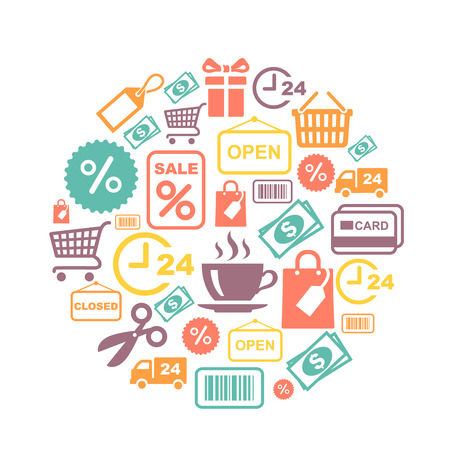 supermarket services: card with shopping supermarket services colored icons illustration