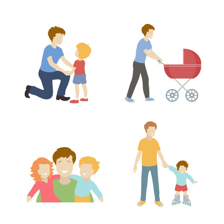 Fatherhood  color flat icons set with father playing with children  vector illustration.