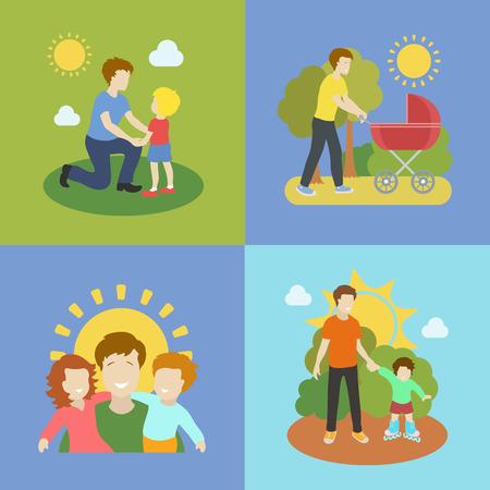 fatherhood: Fatherhood  color flat icons set father playing with children   illustration.