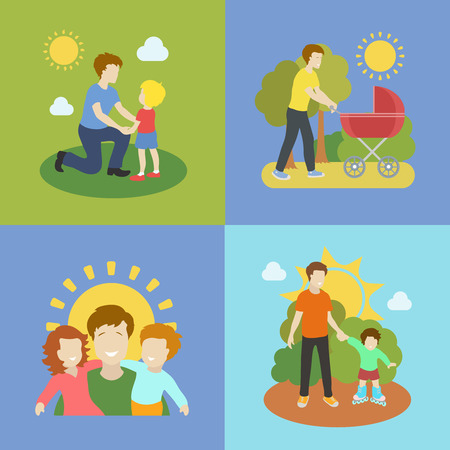 Fatherhood  color flat icons set father playing with children   illustration.