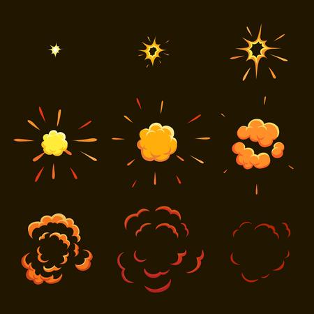 Explode effect animation. game design  animation frames. Vector Vectores