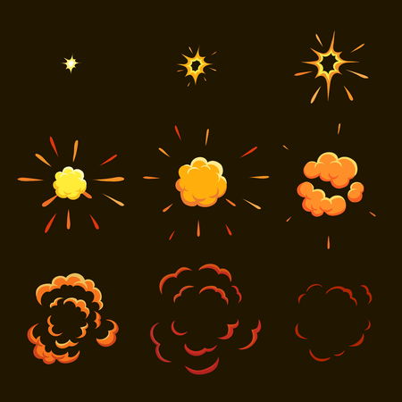 Explode effect animation. game design  animation frames. Vector Illustration