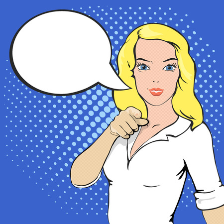hand pointing: Pop Art illustration of girl with the speech bubble and place for text. Comic style woman. Hand pointing finger at viewer from front Stock Photo