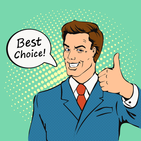 Businessman gives thumb up in comics style. Successful man, Smile, finger agreement, Likes and positive feel, best choice, vintage pop art  illustration