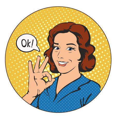 art book: Woman says okay in the circle, success pop art comics retro style illustration