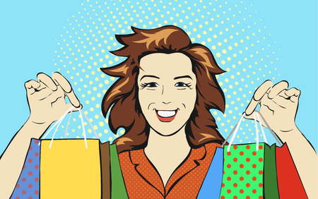 shopping malls: Woman with a shopping bag discounts pop art retro style. Holiday sale stores and malls. Girl Shopaholic. Consumerism and advertising poster Stock Photo