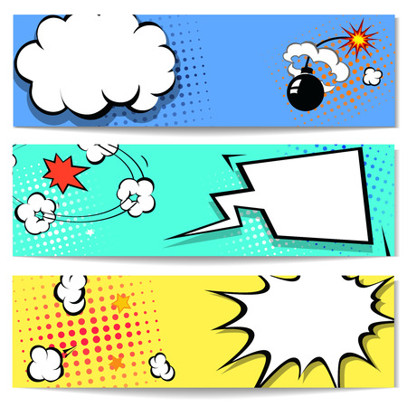 bubble background: Comic speech bubble web header set with Explosion - pop art banner comics background.  illustration Stock Photo