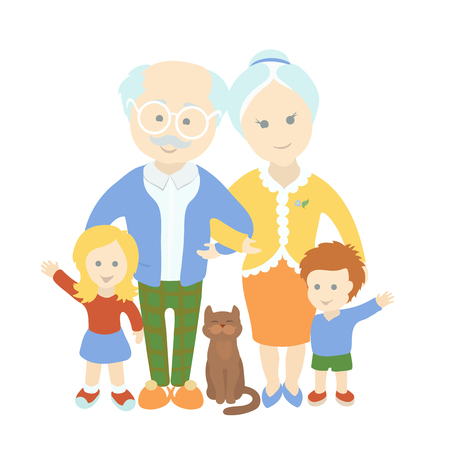 funny love: Grandparents day. Family. Grandparents with grandchildren. Happy cute old couple and cat Illustration