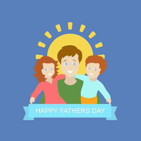 kid illustration: father with kid son and daughter  in Fathers Day background. Vector illustration.