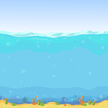 sea world: Underwater seamless landscape,  cartoon background for game design. Sea water, nature ocean wave illustration