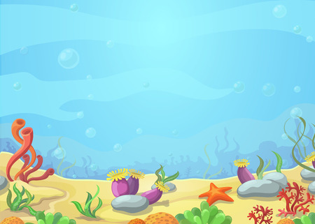 Underwater cartoon world - blue sea landscape, starfish, vector illustration