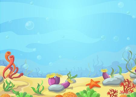 aquarium: Underwater phim hoạt hình thế giới - phong cảnh biển xanh, sao biển, vector minh họa