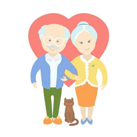 Gelukkig schattig oud echtpaar - opa en oma staan volledige lengte glimlachen, ouderen senior leeftijd marrieds Stockfoto