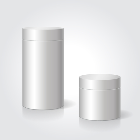 Realistic blank white package box mock up to advertise goods. Cylindrical container. Packaging template. Vector.