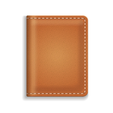 diary cover: Leather diary or cooking book cover isolated on white background. Vector Illustration