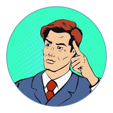 cartoon strip: Thinking businessman pop art retro style vector