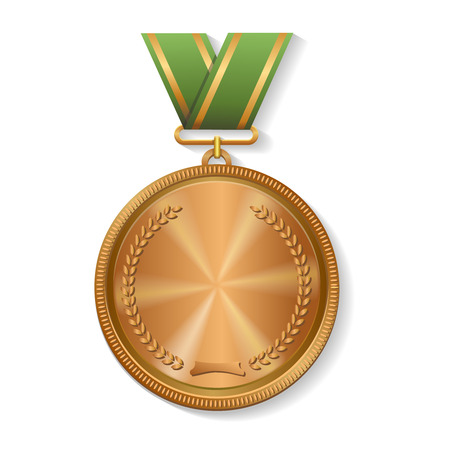 medal: Blank champion  winner bronze medal with ribbon Vector Illustration