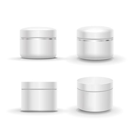 cosmeticos: El envase en blanco envase de cosmético fijado para la crema, polvo o gel. vector aislado Vectores