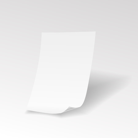sheet of paper: Empty realistic paper sheet with curl Vector Illustration