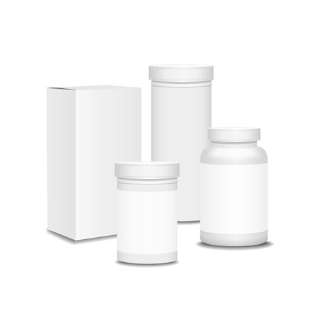realictic: Blank set of plastic  packaging bottles with box for pills,  Vitamins or Capsules Realictic Vector