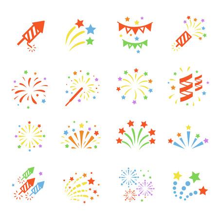 Vuurwerk gekleurd pictogram set met burst petard, Sterren. Festival te vieren en feest. Vector