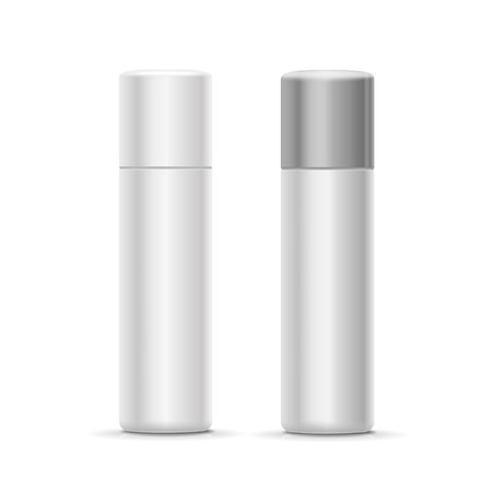 hairspray: White and silver bottle spray cosmetic deodorant for perfume,   freshener or hairspray. Vector container