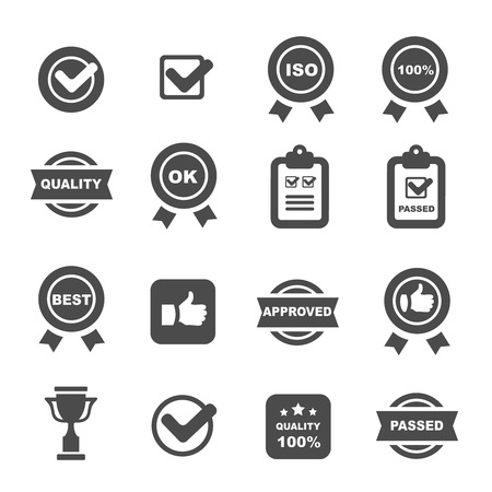 quality control icons black set, mono vector symbols
