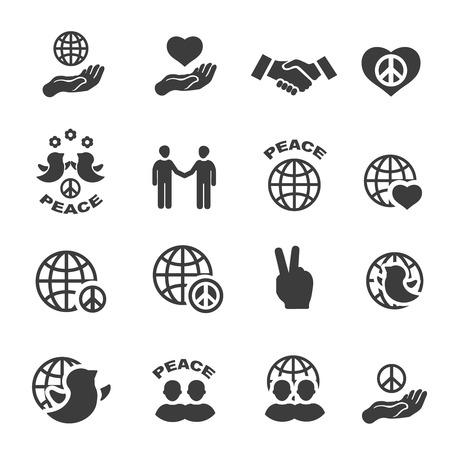 two hands: Peace icons set black vector symbols