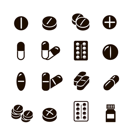 heartache: Pills and Tablets, medicines and drugs.  and capsules icons set  vector collection. Illustration
