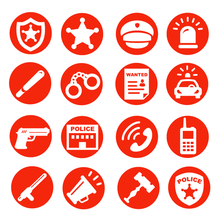 patrolman: police icons set, red buttons vector symbols