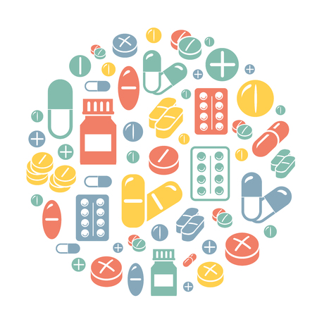heartache: Medical pills icons circle colored background, vector card.