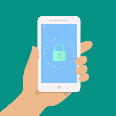 mobile technology: Smartphone lock screen. Secure icon. Hand hold smartphone,  locked phone infographics vector
