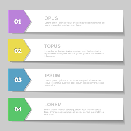 display advertising: Infographics Design template.   Numbered banners, horizontal cutout lines for graphic or website, presentation and chart    Vector illustration