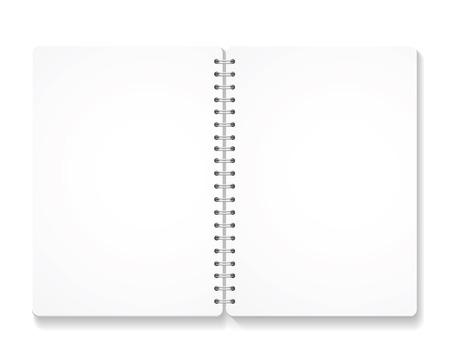cahier à spirale réaliste en blanc avec des pages ouvertes. isolé sur blanc vecteur