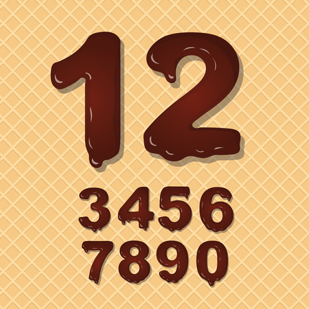numbers: Set of Chocolate  numbers vector set numeral font