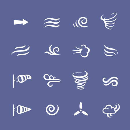 windsock: Wind icons nature, cool weather, climate, windsock and waves Illustration