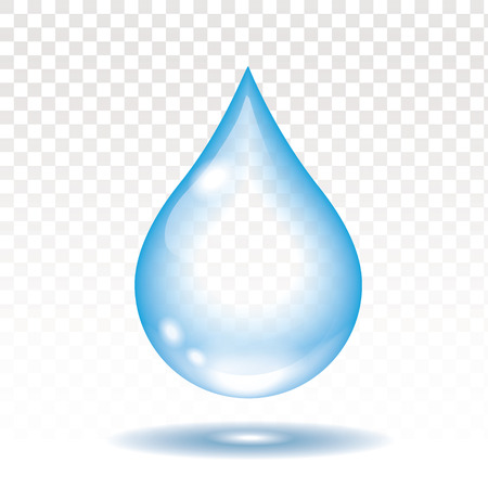 Realistyczna wody kropla odizolowywająca na białej wektorowej ilustraci, przezroczystość