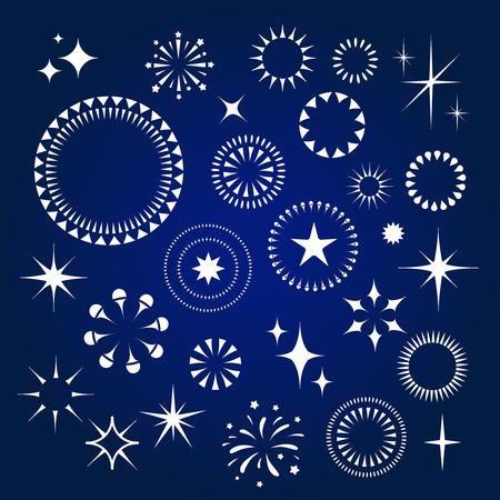Starburst, stelle e scintille scoppio icone bianche insieme di vettore Vettoriali