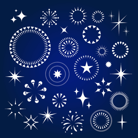 Starburst, stars and sparkles burst white  icons set vector