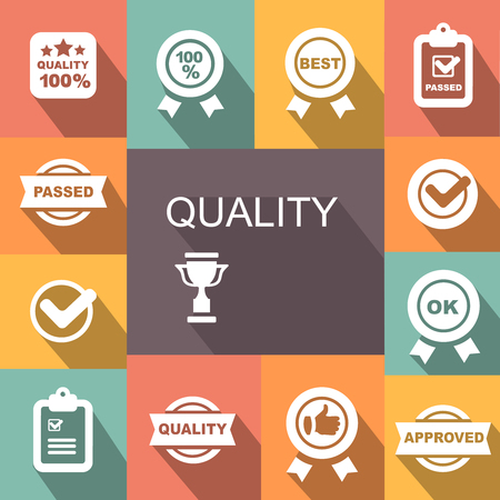 quality icon: Quality control related vector icon set. badge with ribbons