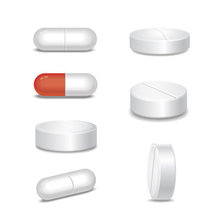 white pills: Set of white medical pills in different positions isolated on white background. Vector illustration