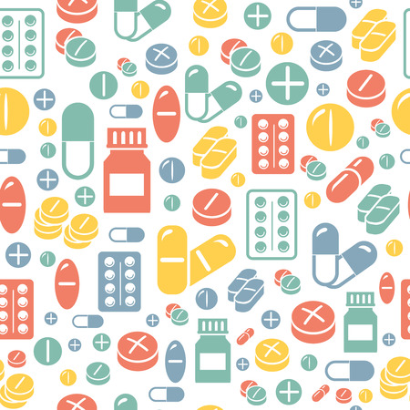 Medical pills and capsules seamless pattern. Colorful pharmacy background. Vector illustration
