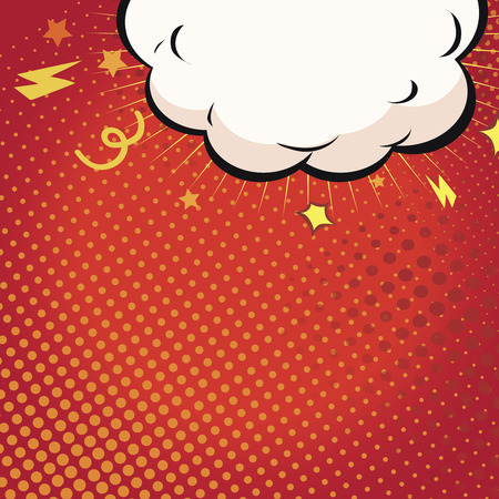 comic background: Comic book illustration with explosion on top.  Boom on red background Vector illustration