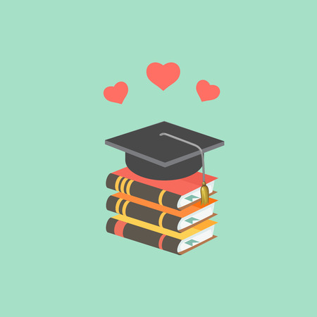 mortarboard: Education concept with mortarboard and books. love to learn Vector Illustration
