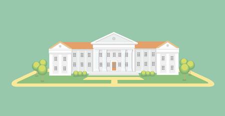 alto: Universidad o edificio de la universidad. Escuela secundaria. Campus Universitario, ilustración vectorial Educación