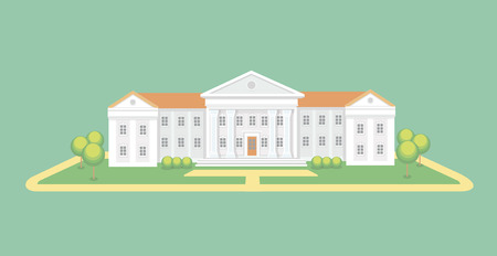 high school: University or college building. High school.  Campus graduation university,  Education vector illustration