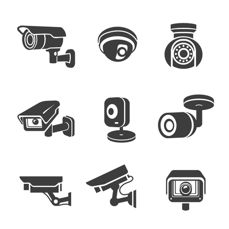 Video surveillance security cameras graphic icons pictograms set vector Çizim