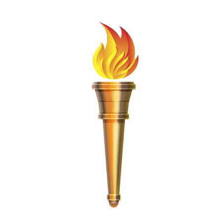 Torcia icona - vettore calda fiamma, potere fiammeggiante, calore e libertà di competizione sportiva fiamma