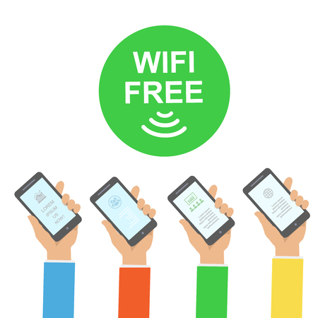 wireless connection: Hand holding smartphone with free wifi wireless connection Infographics vector illustration